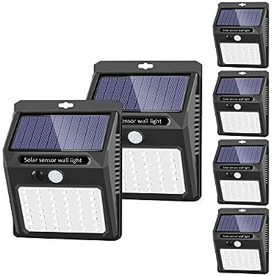 Solar Lights Outdoor [42 LED/3 Working Mode], SEZAC Solar Security Lights Solar Motion Sensor Lights Wireless IP 65 Waterproof Outdoor Lights for Garden Fence Patio Garage (6 Pack)