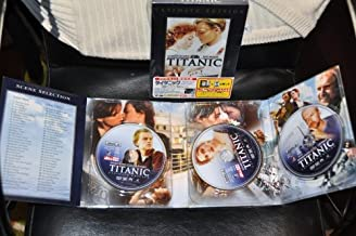 Titanic Ultimate Edition 3 DVD / Region 2 NTSC / JAPANESE RELEASE / # Language: English (Dolby Digital 5.1 EX), English (DTS ES 6.1), Japanese 5.1 / Subtitles: English, Japanese / Screen size: 2.35:1 / 16:9 LB / Number of discs: Three / Cast: Leonardo DiCaprio, Kate Winslet / Director: James Cameron / 195 minutes