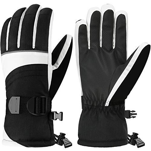 Andake 3M Thinsulate | Touchscreen wählbar | warm wasserdicht Winddicht rutschfest atmungsaktiv | Handschuhe Skihandschuhe Winterhandschuhe Thermohandschuhe Damen Frauen, Weiß, M