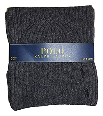 Polo Ralph Lauren Men's 2 Piece Set Hat & Scarf Charcoal Grey Lambswool Blend