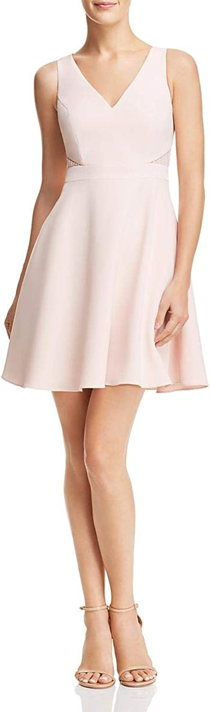 Aidan Mattox Aidan Womens Lace Inset V Neck Cocktail Dress