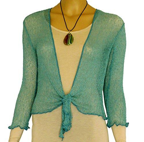 Bolero-Jacke, Strickware, schlicht, kurz, zum Schnüren, Grün One size