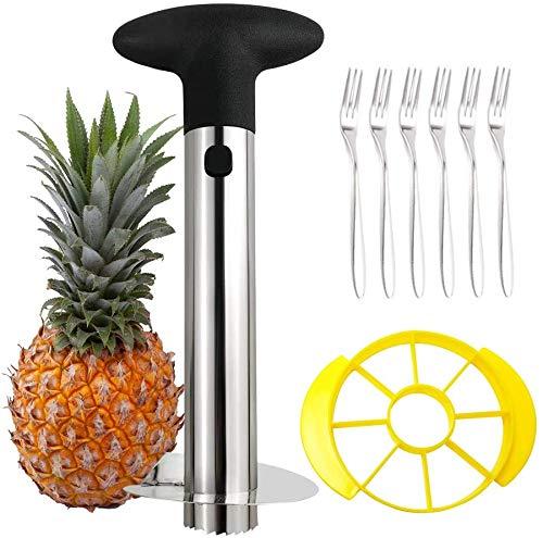Tagliaerba ananas, pelapatate in acciaio inox, lavabile in lavastoviglie, nanas Corer con lama affilata e 6 forchette da frutta