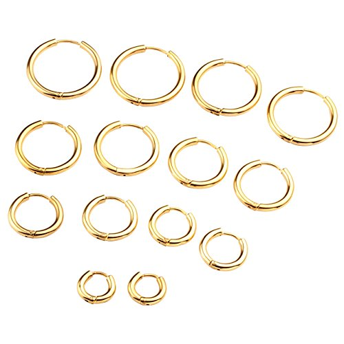 Zysta 7 Coppie Set 1.0mm Orecchini Unisex in Acciaio Inossidabile Piercing a Cerchio per Orecchio Trago Labbra Naso Cartilagine Helix,Interno Diametro 8/10/12/14/16/18/20mm,18GA - Dorato