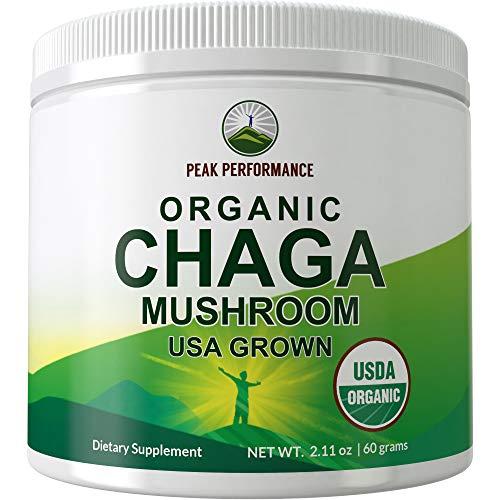 USDA Organic Chaga Mushroom Powder (USA Grown) by Peak Performance. Immunity Support Mushroom Powders Extract Vegan Supplement. Naturally Harvested Raw Powdered Mushrooms. Adaptogenic, Beta Glucans