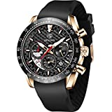 BENYAR Fashion Men's Quartz Chronograph Waterproof Silicone Watches Business Casual Sport Design Wrist Watch for Men Perfect for Father Son Black Blue Rose Gold (BY5175R Rose Gold Black)