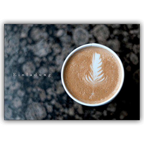 Uitnodigingskaarten met korting voor hoeveelheid: Designer uitnodigingskaart voor koffie • vieren met vrienden en familie de mooiste momenten van het leven 10 Grußkarten