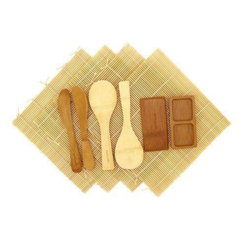 BambooMN Deluxe Sushi Making Kit 2 SETS of 2x Natural Rolling Mats, 1x Rice Paddle, 1x Spreader, 1x Compartment Sauce Dish | 100% Bamboo Mats and Utensils