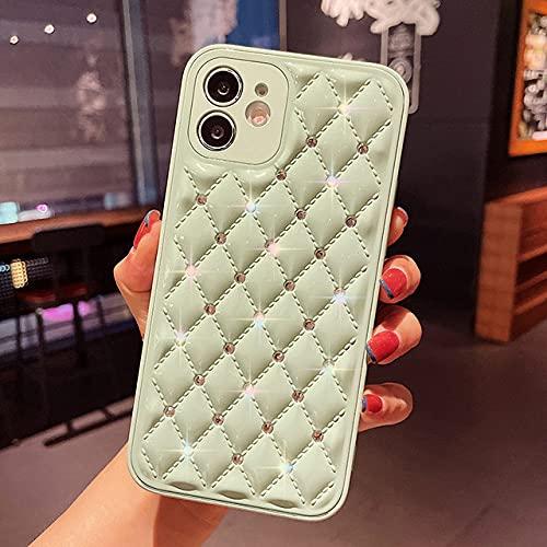 Estuche de Lujo para teléfono con CristalChapado enBling paraiPhone 12 11 7 8Plus XR XS MAX Funda de Silicona Suave romboide Sexy, Verde, para Iphone11