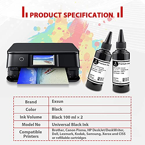 Exsun 2 Botellas de Tinta Negra Universales Compatibles de 100ml para el Sistema CISS Cartucho de Tinta Recargable Funciona con Canon HP 302 304 Epson Brother Lexmark