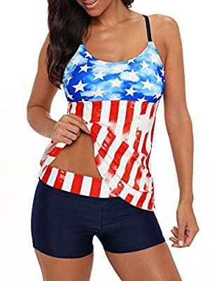 Bathing Suits for Women Tankini Swimsuits Boyshorts Sports Tankini Tops for Women Two Piece Swimming Suits American Flag XL (fits US 10-12)