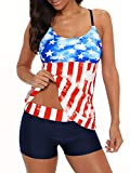 Bathing Suits for Women Tankini Swimsuits Boyshorts Sports Tankini Tops for Women Two Piece Swimming Suits American Flag 2XL (fits US 12-14)