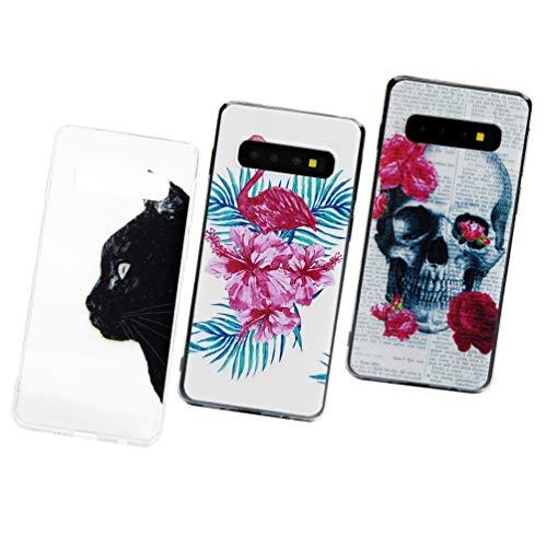 Vogu'SaNa S10 - Funda de silicona para Samsung Galaxy S10, diseño de chica, fina y transparente, 3 carcasas