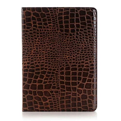 MAXJCN Phone Case Compatible with iPad 9.7 inch 2017/2018 (5th/6th Generation)/iPad Air 2/iPad Air, Crocodile Leather Flip Stand Light-Weight Tablet Case Cover (Color : Brown)