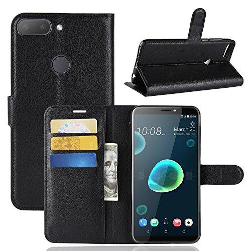 Preisvergleich Produktbild MaxKu HTC Desire 12+ / Desire 12 Plus Hülle,  Premium PU Leder Mappen Kasten für HTC Desire 12+ / Desire 12 Plus Smartphone,  Schwarz