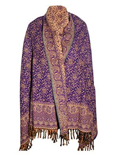 Mantón de invierno de color morado profundo, grueso de pasmona pura lana de yak, manta de decoración para hombre y mujer, tallas grandes, de lujo, multicolor