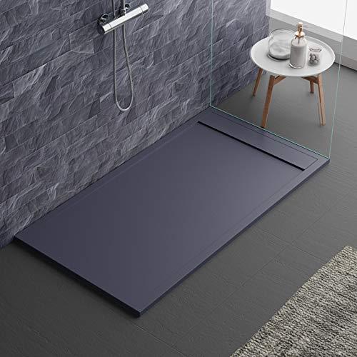 Plato de ducha gris antracita RAL7011 con efecto piedra pizarra, serie Lisboa, 3 cm, revestimiento de Gelcoat, antideslizante (70 x 170 cm)