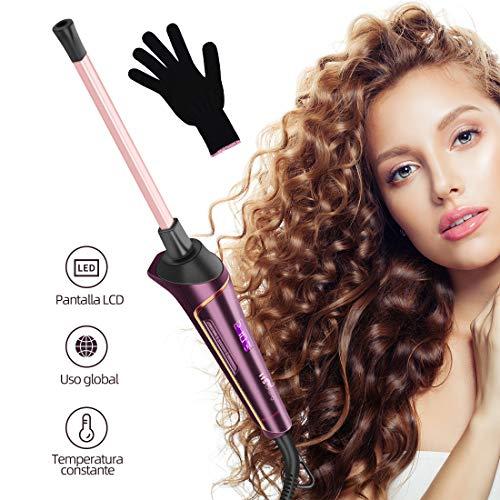 Rizador de Pelo, HS Onsing Tenacilla de pelo Rizador profesional Rizadora 9mm de cerámica para el pelo Sin tenacilla pantalla LCD recubrimiento Keratin & Shine morado