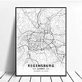 NOVELOVE Regensburg Stadt Deutschland Karte Poster HD Drucke Wandkunst Bilder Leinwand Malerei Büro Wandbild Wohnkultur ohne Rahmen 50 * 70cm
