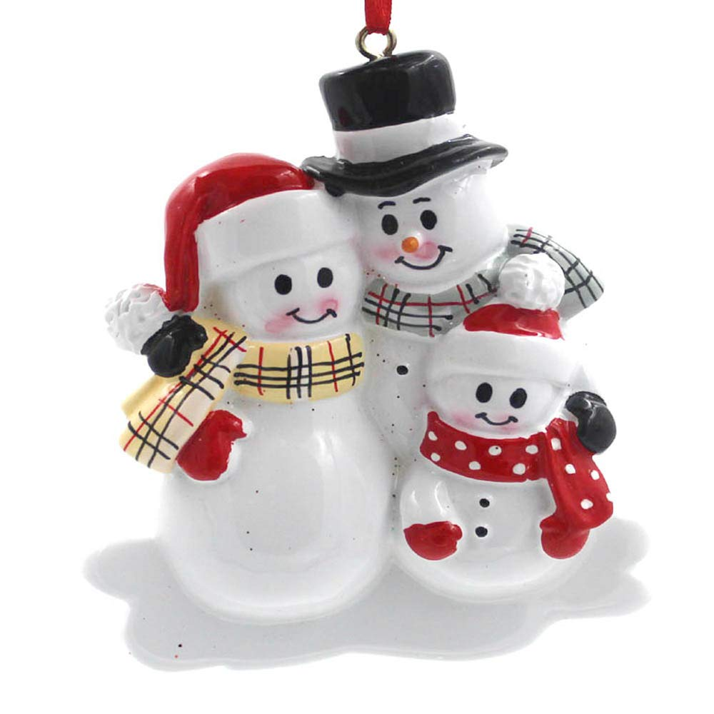 Amazon Com Smyer Snowman Family Of 3 Personalize Christmas Ornament Free Pen And Gifts Box Provided Made Of Resin Family 3 Snowman Home Kitchen