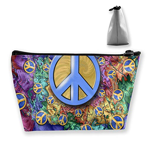 Hippie Art Spiral Peace and Love Sign Cosmetic Pouch Multi-Functional Bags Tote Bag Portable Storage Ladies