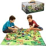 AINOLWAY Giocattoli di Dinosauri, Figure di Dinosauri realistiche con Tappetino da Gioco per attività, Set di Giochi educativi di Dinosauri per Creare Un Mondo Dino