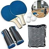 YZ Juego de Red de Tenis de Mesa retráctil portátil con 2 paletas de Ping Pong y 3 Bolas para Mesa de Comedor, Escritorio de Oficina, Cualquier Escritorio Interior
