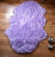 Rugs Supermarket Lilac soft faux fur double shape sheepskin style rug 70 x 140 cm washable