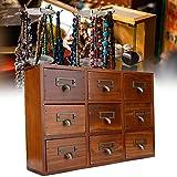 Caja vintage, baúl de almacenamiento de madera decorativo, cajón vintage Caja de almacenamiento de escritorio de madera de varias capas Joyero antiguo Regalo de cumpleaños Joyero pequeño(#1)