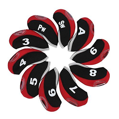 Dioche Golf Schlägerkopfhüllen, Golf Club Kopfbedeckungen 10 stücke wasserdichte Golf Club Eisen Kopfbedeckungen Putter Set Protector Fall Golf Zubehör(Black&Red)