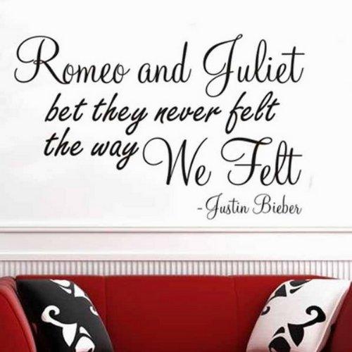 Windsor Designers Sticker Mural – Roméo et Juliette Poème Justin Bieber. Décoration Murale Chambre à Coucher Salon Cuisine, Aqua, S - 60 x 30 cm