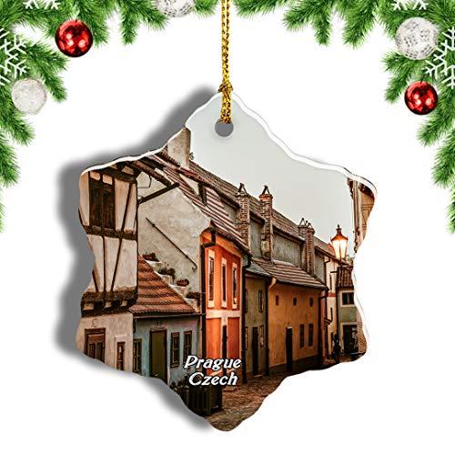 Weekino Czech Golden Lane Prague Christmas Ornament Travel Souvenir Tree Hanging Pendant Decoration Porcelain 3' Double Sided