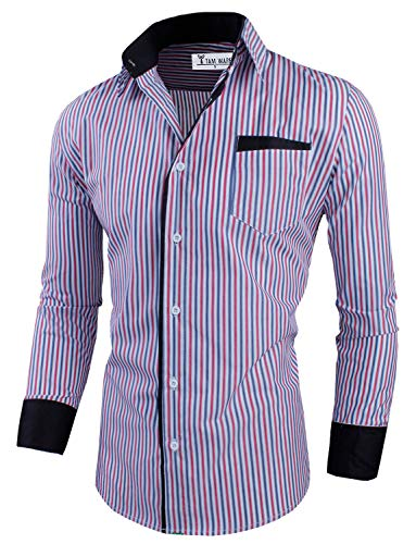 Tom's Ware Mens Classic Slim Fit Vertical Striped Longsleeve Dress Shirt TWCS16-RED-US S