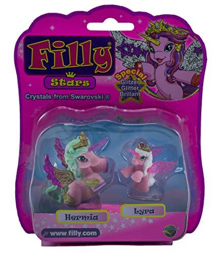 Dracco Filly Stars Pferde Glitzer-Flügel, Krone Swarovski Kristall, 2er-Pack für Kinder, Mädchen, Hermia & Lyra, Lyra & Hermia, Hypnia & Astro, Astro & Hypnia (Hermia mit Lyra)