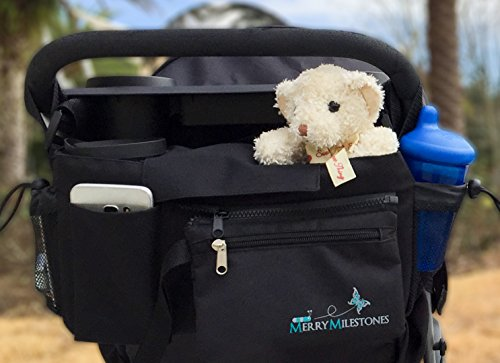 Stroller Organizer Bag with Detachable Wristlet and Extra-Large Insulated Cup Holders, Parent Storage for Smart Mom Accessories- Phone, Keys, Cards, Diapers, Perfect Baby Shower Gift
