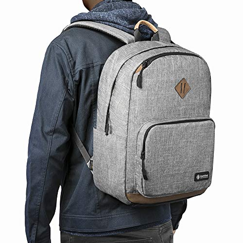 tomtoc 22L Classic College School Student Backpack Bookbag, Water-resistant Computer Bag Travel Bag with 15.6 Inch Laptop Compartment, Anti-theft Pocket and USB Charging Port
