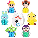 TICIAGA 7pcs Toy Inspired Story Honeycomb Centerpieces, Table Topper for Birthday Party Decor, Double Sided Cake Topper, Photo Booth Props, Toy 4th Kids Party Favor Supplies Mix of Fork, Ducky, Bunny