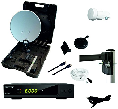 RED OPTICUM Camping Sat Anlagen Komplettset HD-TV - Mobile Satelliten-Anlage mit HD AX 300 Sat-Receiver + Single LNB + Camping Koffer Set + HDMI Kabel uvm. - Camping Sat-Anlage komplett