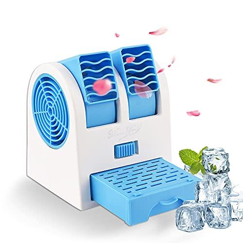 Tragbare Klimaanlage, Air Cooler Luftbefeuchter, USB Tragbare Mini Klimagerät 3 in 1 Raumluftkühler, Luftreiniger, Tragbarer Tischventilator für Büro,Hotel und Haus (Blau)
