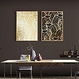 2 Stück Leinwand Malerei Schwarz Gold Damaskus Blätter