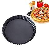 Molde redondo de 8 pulgadas para hornear pizza, antiadherente, de aleación de aluminio activo, bandeja para tartas