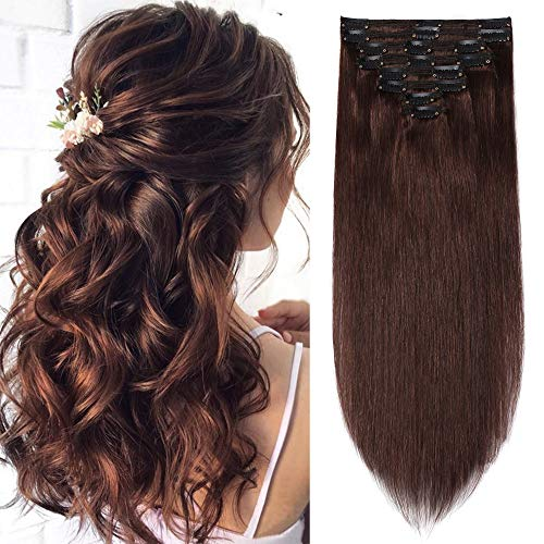 S-noilite 18Inch Clip in Human Hair Extensions Double Weft 100% Remy Hair Medium Brown Thick Soft Silky Straight Full Head Brazilian Hair 18 Clips 8PCS 140g For Women #4