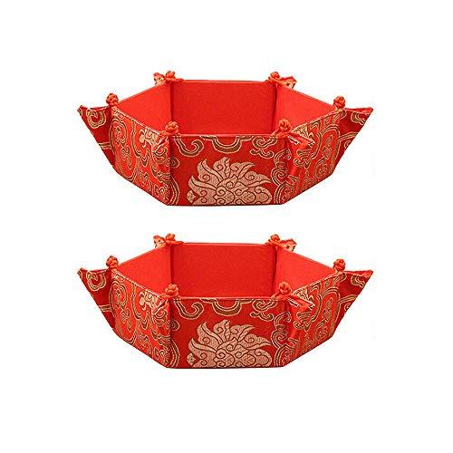 ZZM Bordado Caja de Frutas secas, Frutero Rojo Bocadillos de Comida Seca Nueces Bandeja de Almacenamiento Bandeja de Dulces Caja de Regalo para el hogar Tienda Rrestaurant