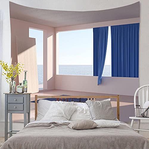 Tapiz de ventana de imitación colgante de pared mar lago montaña tapiz artista decoración del hogar manta de amanecer A1 180x200cm