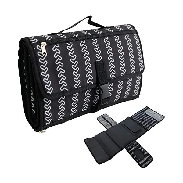 Portable Changing Pad for Baby Diaper Bag – 2 Extra Pockets for Wipes, Creams, Powder, and More, Waterproof Travel Mat, Memory Foam Head Pillow, Black