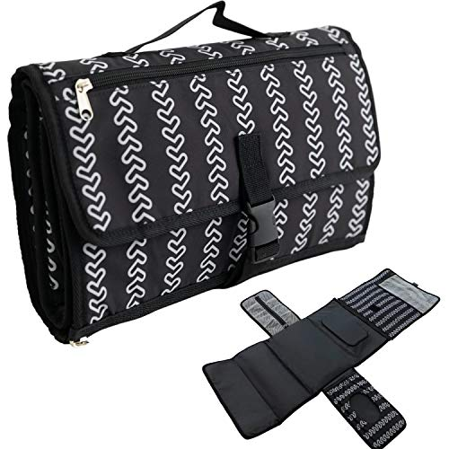 Portable Changing Pad for Baby Diaper Bag - 2 Extra Pockets for Wipes, Creams, Powder, and More, Waterproof Travel Mat, Memory Foam Head Pillow, Black