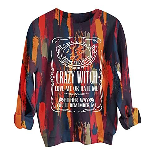 Camiseta de manga larga para mujer, con estampado de cartas, cuello redondo, elegante, suelta, fina,...