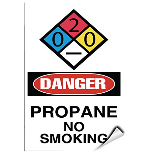 Danger Propane No Smoking Danger Hazard Sign Flammable Label Decal Sticker 5 inches x 7 inches