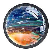 引き出しノブプルハンドル4個 クリスタルガラスのキャビネットの引き出しは食器棚のノブを引っ張る,宇宙