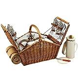 Picknick at Ascot Huntsman English Style Weide Picknickkorb mit Service für 4 Personen und Decke - London Plaid Weidengeflecht mit Pavillon Teller/Servietten